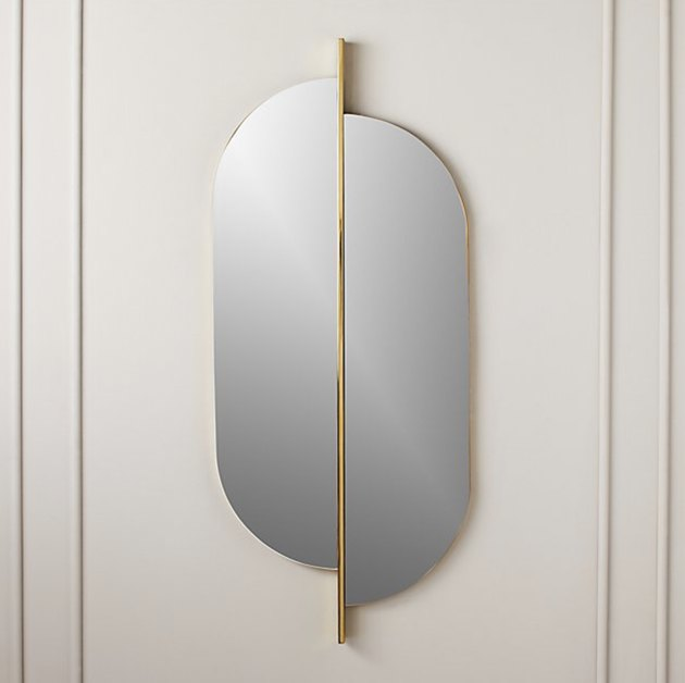 Brass Art Deco wall mirror