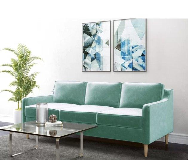 Allmodern green velvet couch