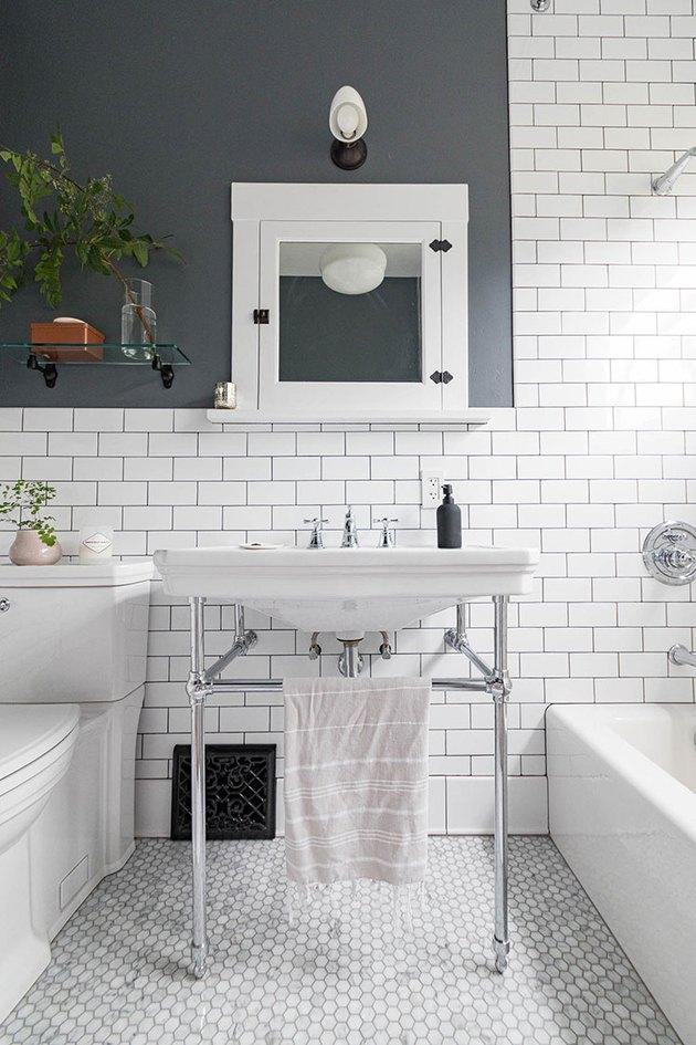 bathroom with subway tiles