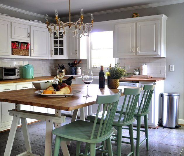 farmhouse kitchen island ideas for small kitchens with painted green chairs