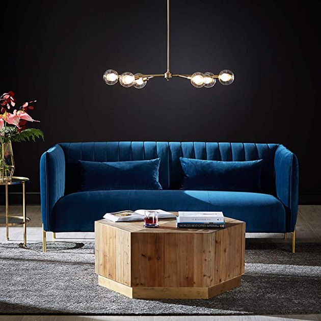Amazon blue velvet couch