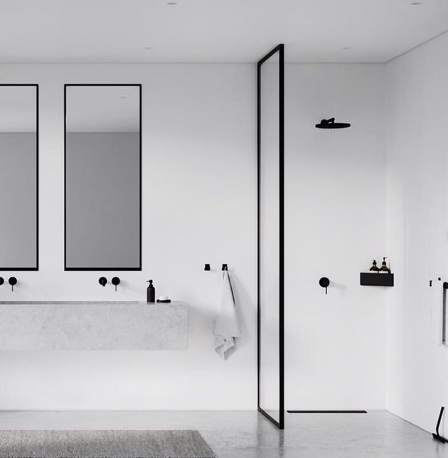 minimalist bathrooms with walk-in shower and double sink