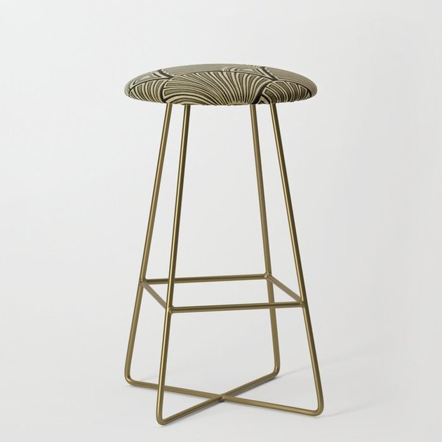 Bar stool with scalloped Art Deco upholstery