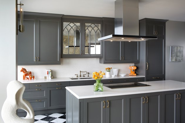 painted gray kitchen island ideas for small kitchens with stainless steel hood and shaker cabinets