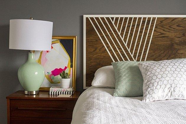 DIY mod painted headboard in bedroom
