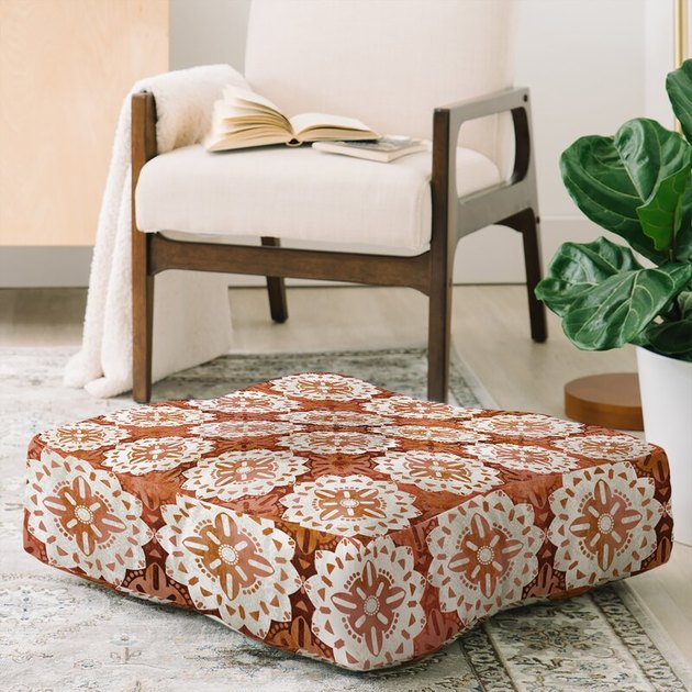 desert modern floor cushion with medallion print