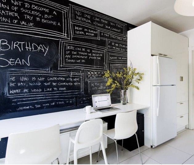 Toronto kitchen with white kitchen floor tiles and chalkboard walls