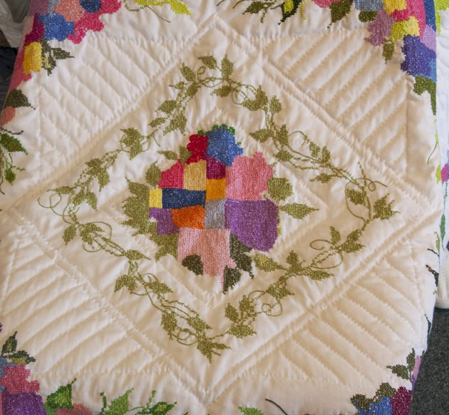 detail of a Gee's Bend style quilt