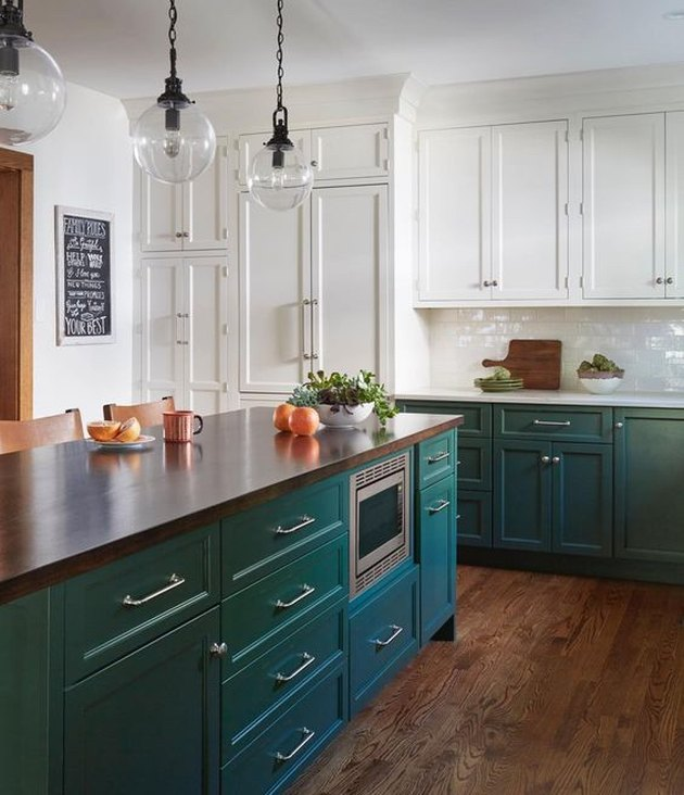 two tone craftsman kitchen cabinets with white and green