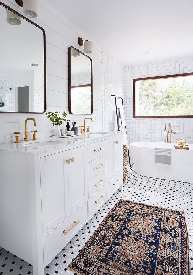 bathroom mirror idea with white bathroom with panelled walls and walnut mirrors