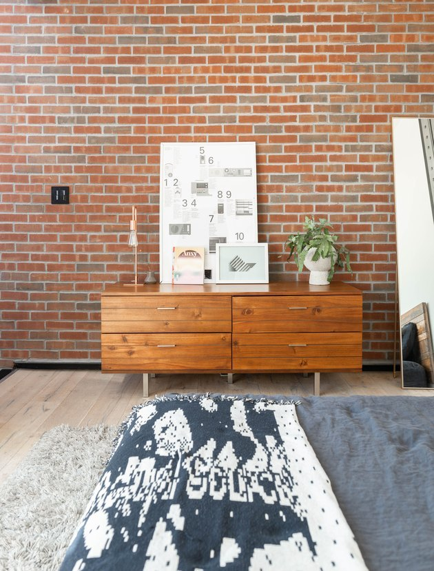 bedroom dresser and leaning mirror industrial modern