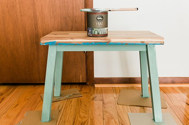 Paint the base and legs of the bench using chalk decorative paint.
