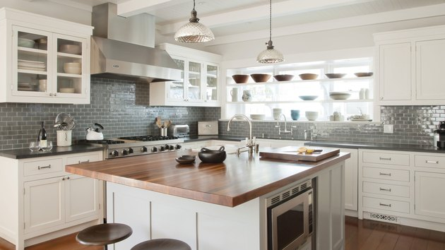 white craftsman kitchen cabinets with subway tile backsplash