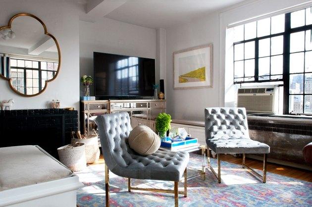 postwar living room with modern details