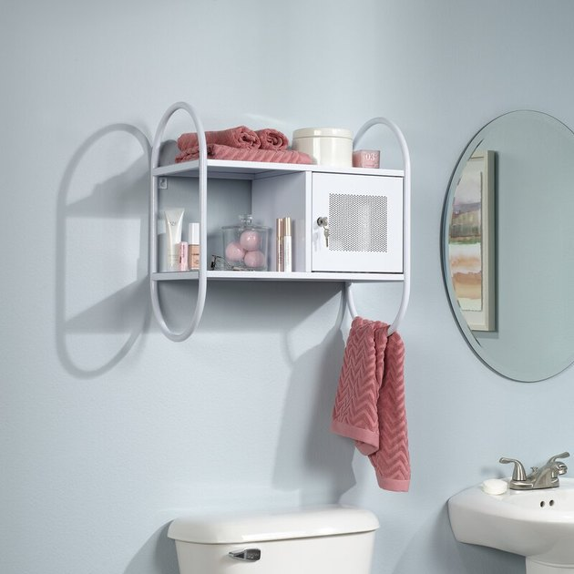 wall mounted over the toilet cabinet with towel rack