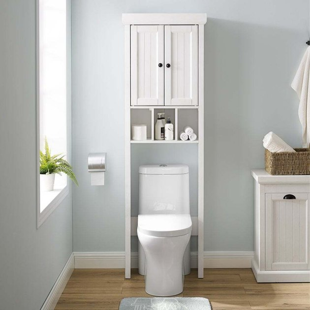 over the toilet bathroom cabinet with open storage