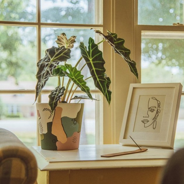 side table with plant in patterned vase and framed art print