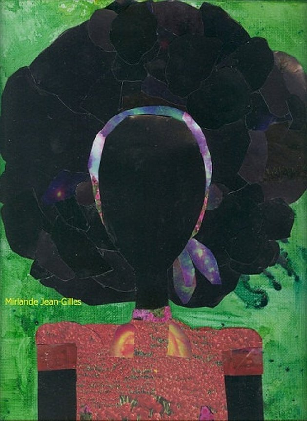 collage artwork of figure with afro