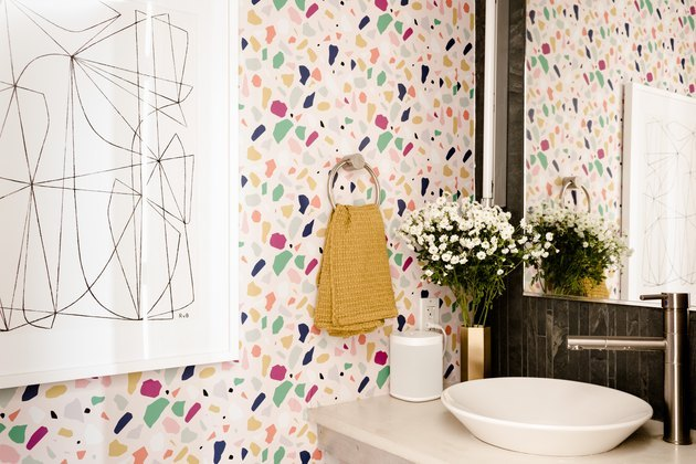 Colorful wallpaper in bathroom