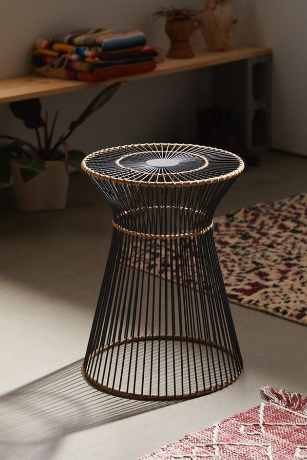 roped metal side table