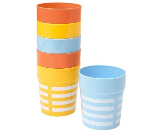 blue, orange, and yellow cups