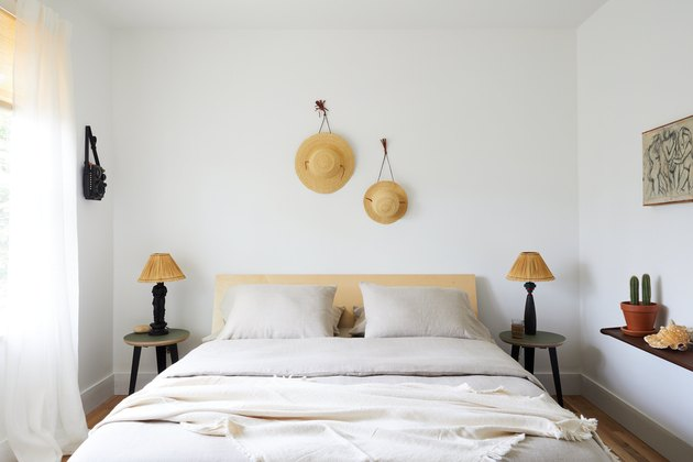 minimal white boho beach bedroom with coastal touches