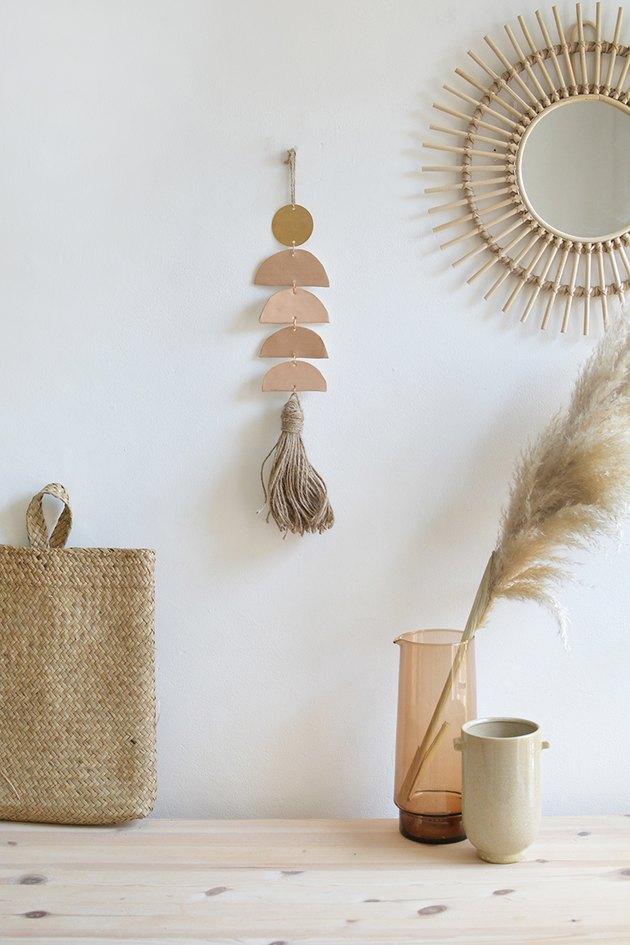 boho wall decor idea with clay wall hanging diy