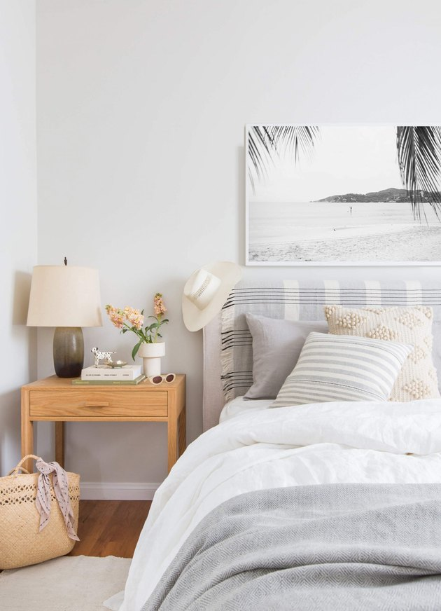 boho beach bedroom with neutral palette
