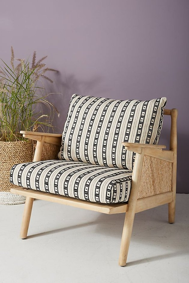 anthropologie tapestry cane chair