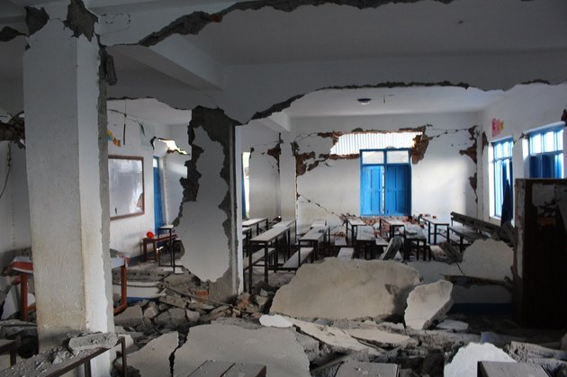 Inside an earthquake damaged building.