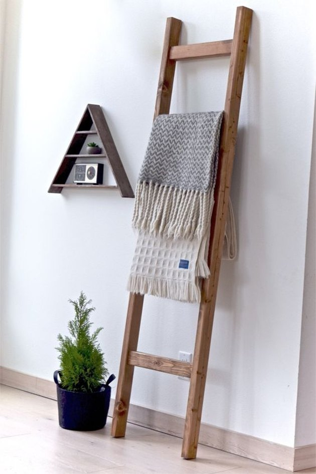 rustic wood blanket rack