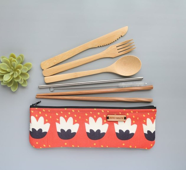 Bamboo travel utensil kit