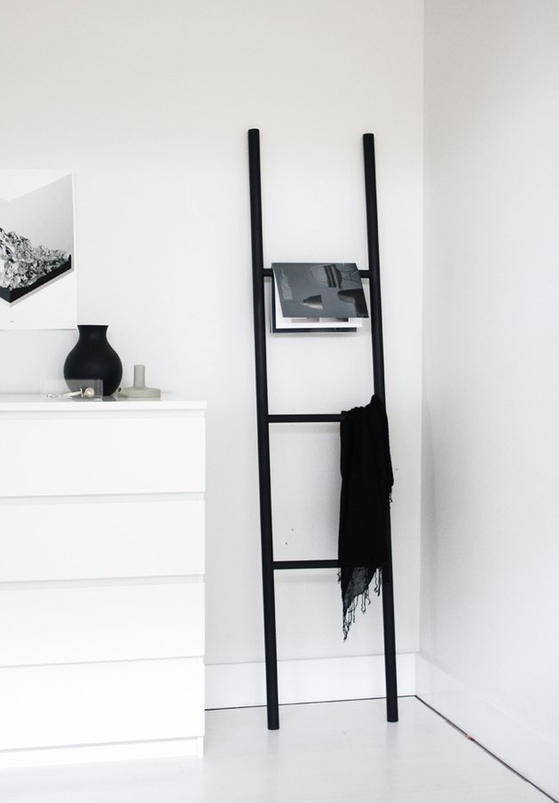 modern black DIY blanket rack