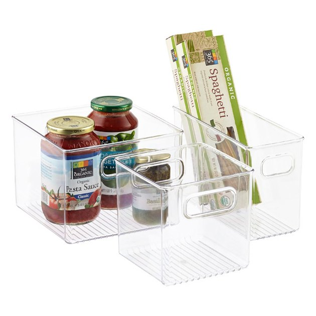 iDesign clear pantry bins with food