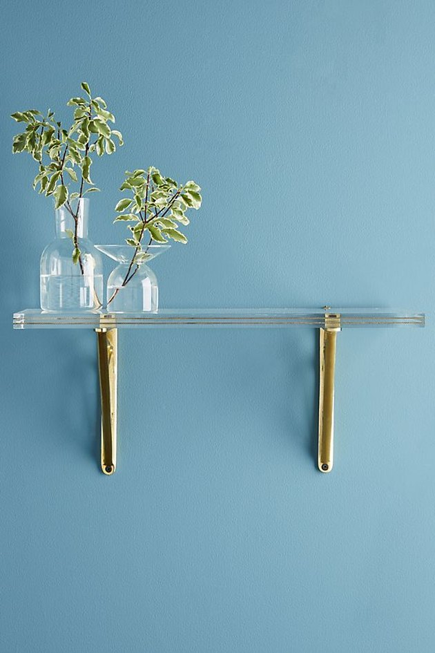 anthropologie brass lucite shelf