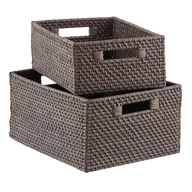 The Container Store gray rattan storage bin with handles