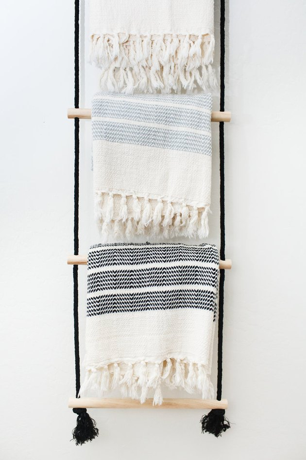 bohemian inspired DIY hanging blanket rack