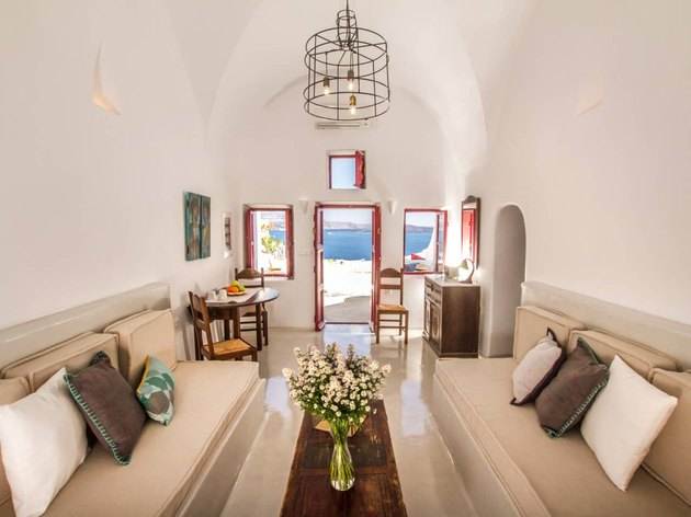 Interior of Hector Cave House in Santorini, Greece