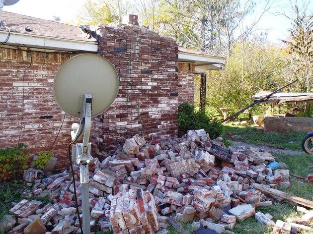 Damaged brick chimney.