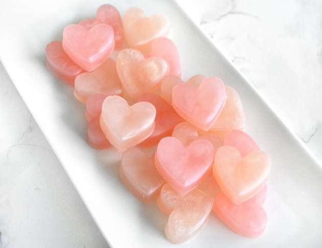 small heart shaped soaps in a tray