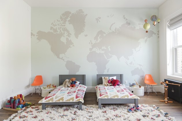 children's room with modern furnishings Eames chairs