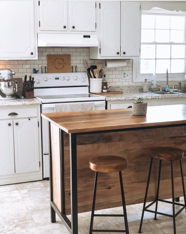 Freestanding rustic industrial kitchen island table