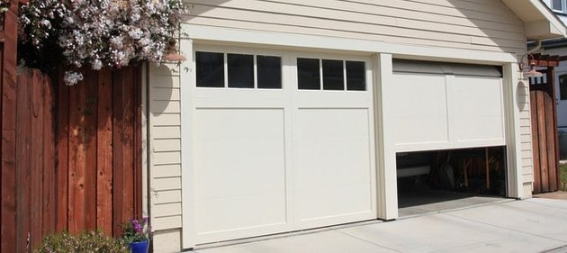 Exterior view of garage doors.