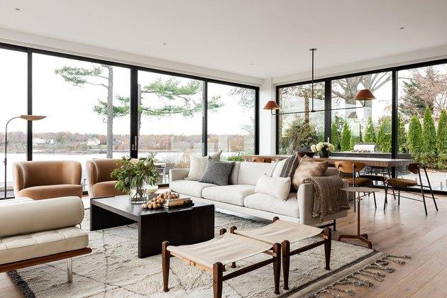 boho coastal living room with pared down earth tone living room