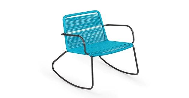 aqua-colored rocking chair