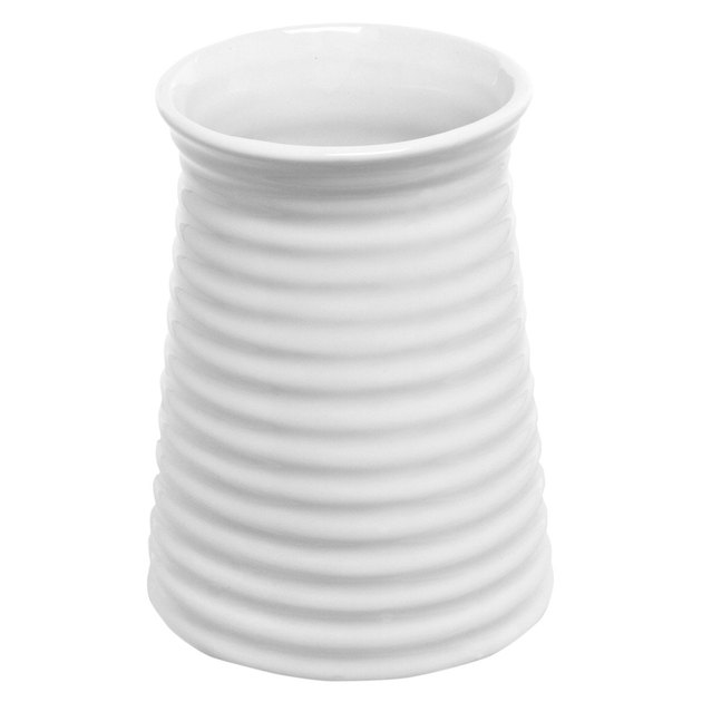 Ribbed white ceramic vase