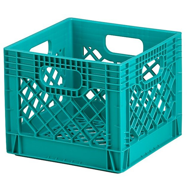 Crate and Barrel Aqua Milk Crate, $10