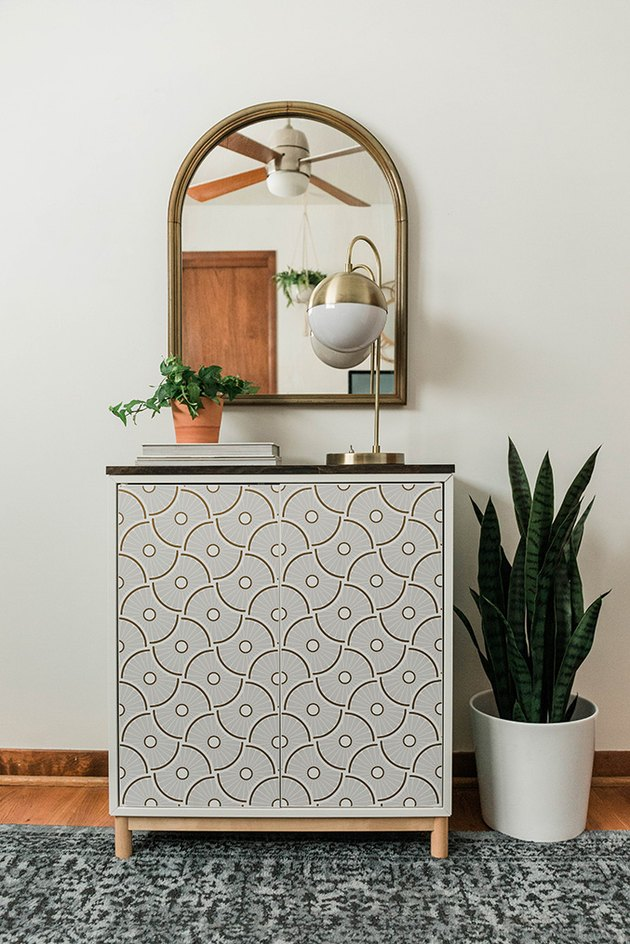 Add color and pattern to a plain IKEA cabinet using this DIY tutorial.