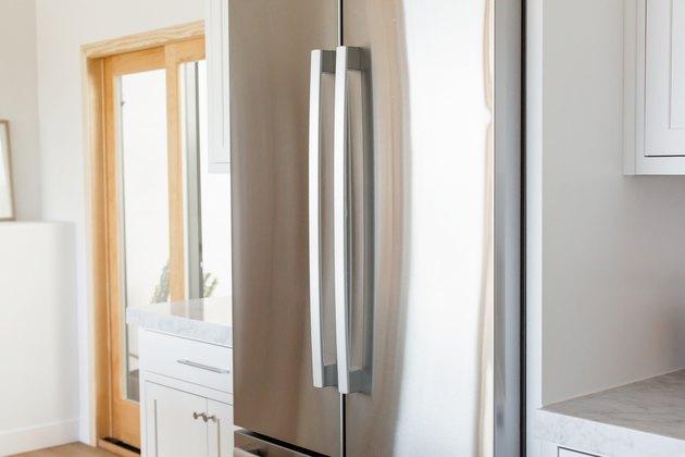 view of stainless steel, double-door fridge