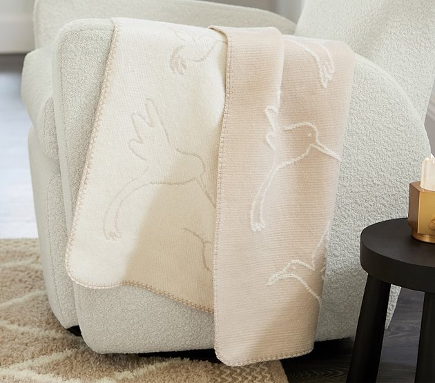 hummingbird baby blanket on sofa chair
